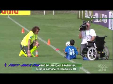 A disabled boy shows off his football skills to David Luiz at Brazil training – YouTube