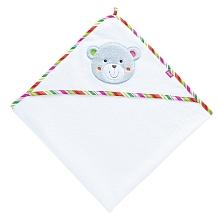 Babysun - Set de toilette blanc Un adorable cpubt de toilette composé d'un grand drap de bain et d'un gant en éponge assorti. Dimensions : 77 x 77 cm. Composition : 77% coton