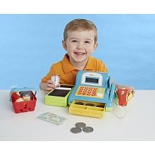 Caisse enregistreuse électronique bleue Fais tes courses comme au supermarché avec cette caisse enregistreuse électronique Just Like Home !Réaliste