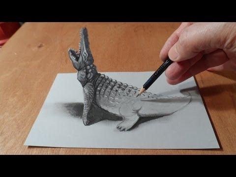 dessiner un crocodile en 3d trompe l 39 oeil youtube pin buzz pin buzz. Black Bedroom Furniture Sets. Home Design Ideas