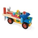 2 jeux en 1 : 1 camion en bois à construire avec les 3 outils en bois fournis (outils adaptés à l'enfant) qui viennent se ranger sur le camion et un jouet à trainer une fois le camion terminé. Jeux de construction / Constructions en bois