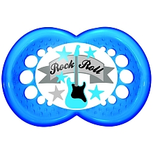 toys' r us 2 sucettes MAM silicone 18 mois et + et boîte stérilisable - Rock Roll (guitare)