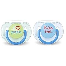 toys' r us 2 sucettes à texte I love... - Silicone 6-18 mois - verte et bleue