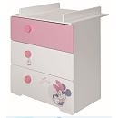 Commode 3 tiroirs avec dispositif à langer amovible à l'effigie du personnage de Disney Minnie !Dimensions : 76 x 95 x 68 cm.Composition :Façade tiroir du haut en panneaux de fibres de moyenne densité (MDF) laqué rose.Façades tiroirs du milieu et du bas
