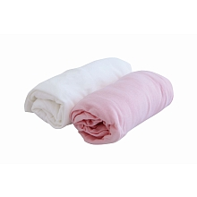 toys' r us 2 draps housse 60 x 120 cm blanc/rose