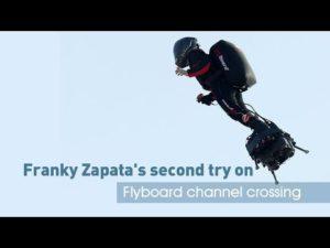 Live : Franky Zapata traverse la manche en flyboard air le 04 08 2019